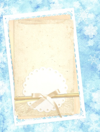 Vertical background of blue color with retro cards and snowflakes photo
