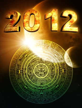 2012. Vertical background with Maya calendar photo