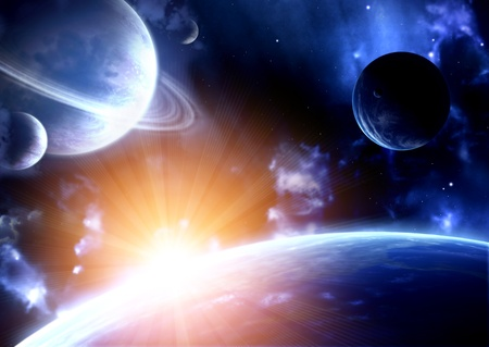 Space flare. A beautiful space scene with planets and nebula Stock Photo - 11541542