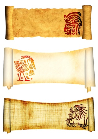 medieval scroll: Scrolls with American Indian traditional patterns. Isolated over white