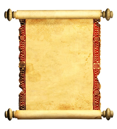 rolled scroll: Scroll of old parchment. Object isolated over white