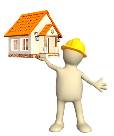 building activity: Builder - puppet, holding in hands house. Isolated over white Stock Photo
