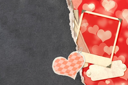 Grunge valentine background with old photo and label