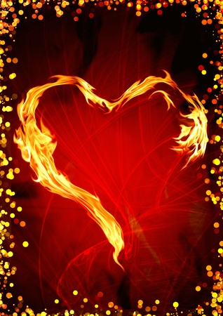 heart heat: Bright flame in the form of heart