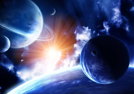 interplanetary: Space flare. A beautiful space scene with planets and nebula