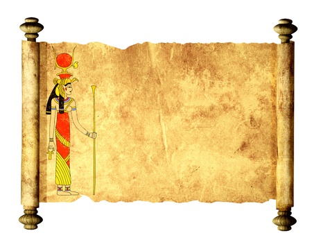 egyptian woman: Scroll with Egyptian goddess Isis image. Isolated over white