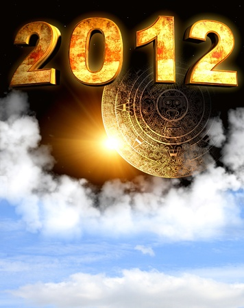 prognostication: 2012. Maya prophecy. Vertical background with calendar and space cloud Stock Photo