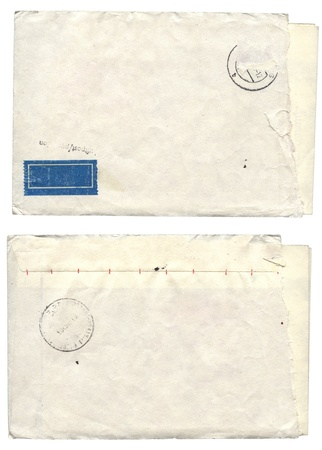 old envelope: Two old envelope for scrapbooking design. Isolated over white Stock Photo