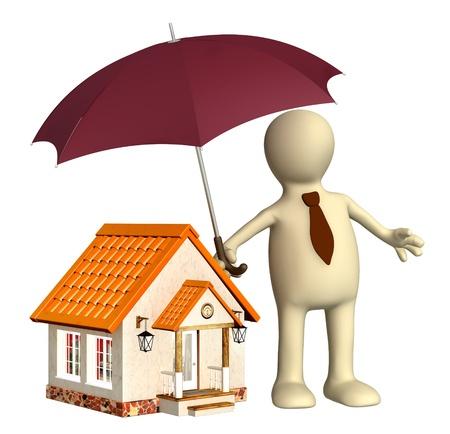 accident rate: Concepto - seguro de hogar. Los objetos aislados sobre blanco Foto de archivo