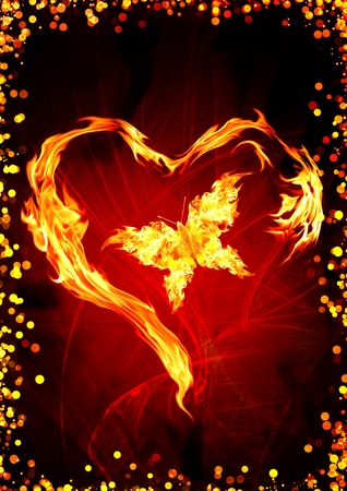 light traces: Bright flame in the form of heart and butterfly