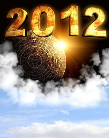 mayan prophecy: 2012. Maya prophecy. Vertical background with calendar and space cloud Stock Photo
