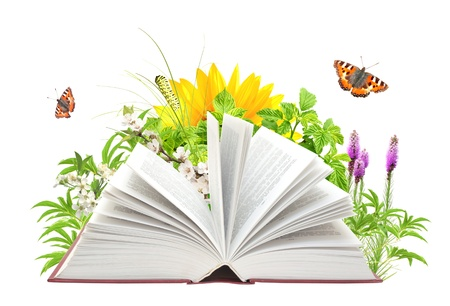 open life: Libro de la naturaleza. Aislado en blanco