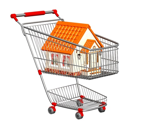 House for sale. New house in shopping cart. Isolated over white photo