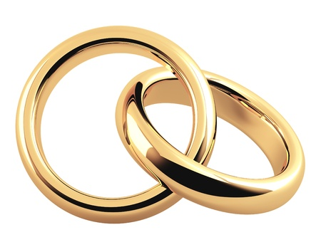 2 objects: Two 3d gold wedding ring. Objects isolated over white