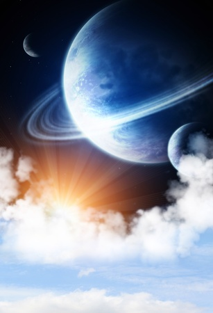 Space flare. A beautiful space scene with planets and nebula Stock Photo - 12335293