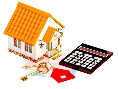 Two gold keys, house and calculator  Objects isolated over white photo