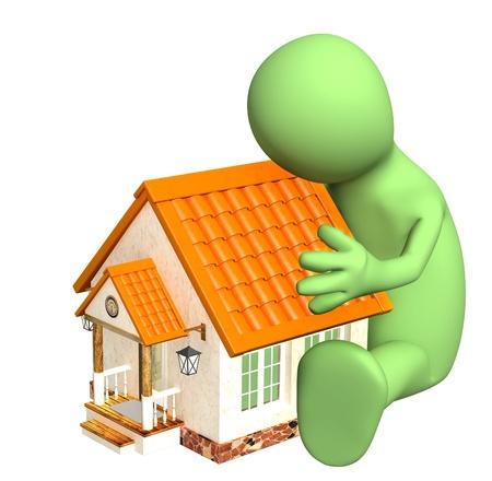 accident rate: T�teres, abrazando a su casa. Aislado en blanco Foto de archivo