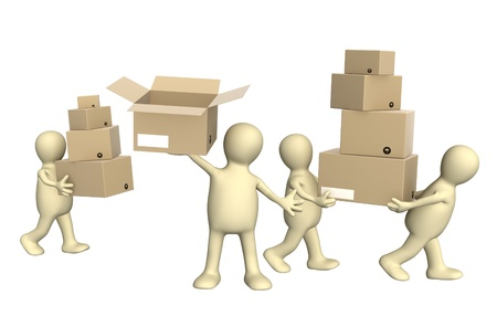 shipments: Four puppets with boxes. Isolated over white Stock Photo