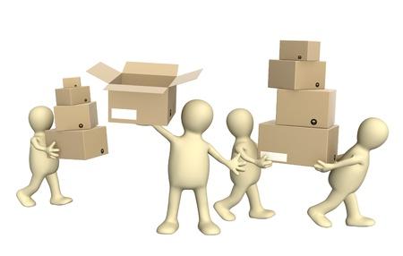 Quatre marionnettes avec des boîtes. Isolé sur fond blanc