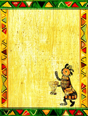 Dancing musician. Grunge background with African traditional patterns photo