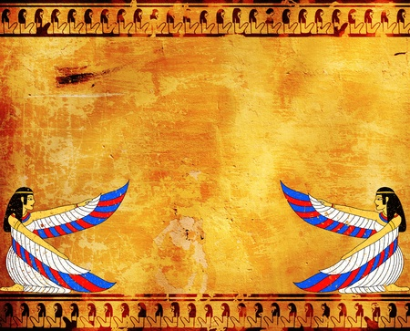 Wall with Egyptian goddess image - Isis Stock Photo