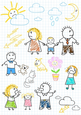 unhappy family: Vector drawings - conflicts within the family, parents quarrel. Sketch on notebook page