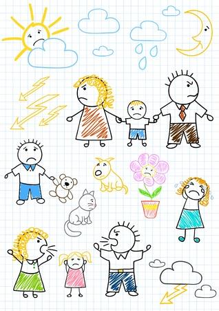 konflikt: Wektorowe rysunki - konflikty w rodzinie, kłótni rodziców. Szkic na stronie notesu