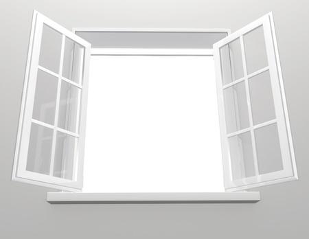 Opened plastic window. 3d render photo