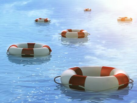remote view: Six 3d lifebuoys, floating on waves
