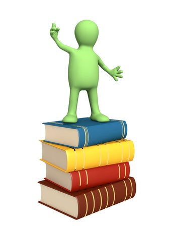 3d puppet with books. Isolated over white Stock Photo - 12637244