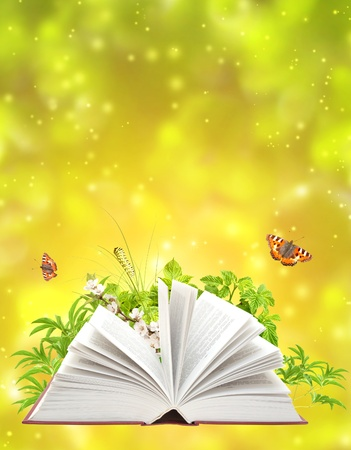 new books: Book of nature on green background