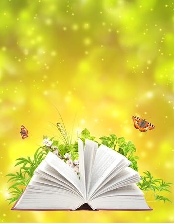 open life: Libro de la naturaleza sobre fondo verde