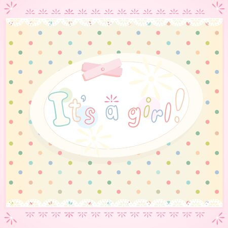 its a girl: Its a girl! Vector background in shabby chic style