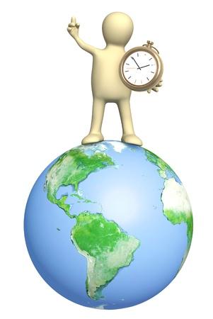 1 person: Puppet with clock. Isolated over white