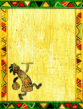 djembe drum: Dancing musician. Grunge background with African traditional patterns