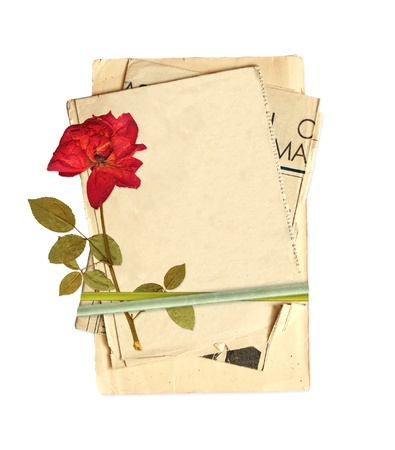 herbarium: Old cards and dried rose for scrapbooking design. Object isolated over white