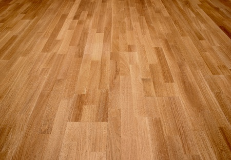 laminated: New oak parquet of brown color