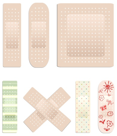 adhesive plaster: Vector collection of medical plasters