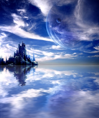 fantasy landscape: Collage - landscape in fantasy planet