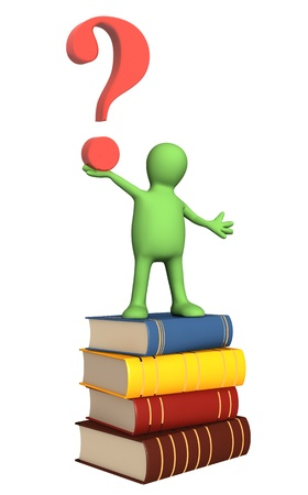 3d puppet with books and question mark. Isolated over white Stock Photo - 12934908