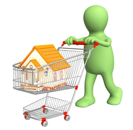 3d puppet: 3d puppet - buyer, bought the house. Isolated over white