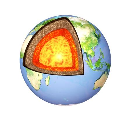 noyau: Structure de la Terre. Mod�le isol� sur blanc Banque d'images
