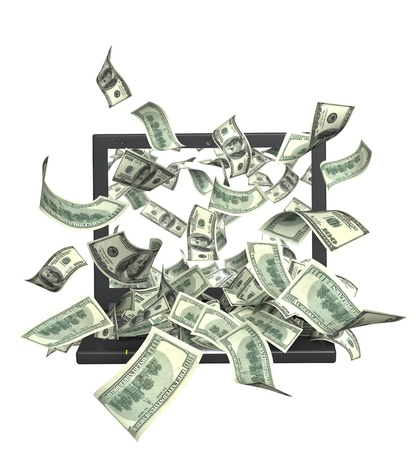 flying money: Conceptual image - earnings in the Internet Stock Photo