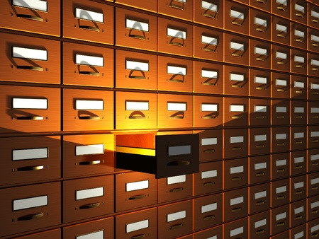 accommodate: Wooden archival boxes - 3d render Stock Photo