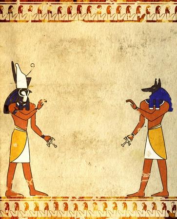 Achtergrond met afbeeldingen van Egyptische goden - Anubis en Horus