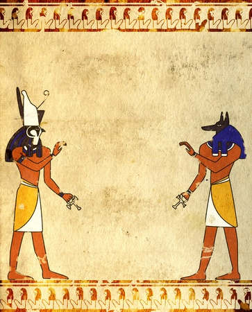 ancient egyptian culture: Background with Egyptian gods images - Anubis and Horus Stock Photo