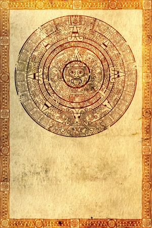 Maya prophecy on ancient parchment photo