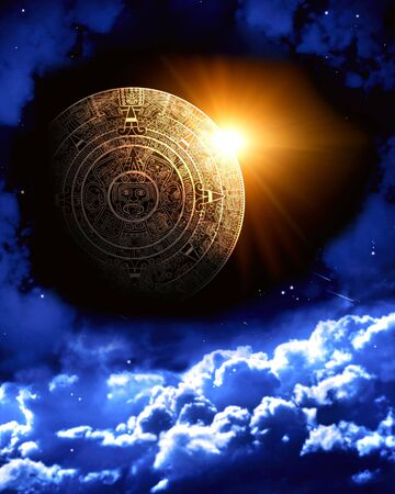 mayan prophecy: Vertical background with Maya calendar and space scene