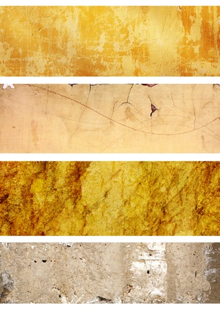 Collection of grunge banners with texture of stucco Stock Photo - 12934935