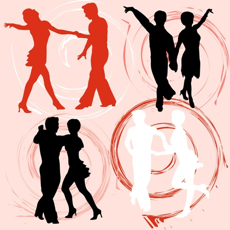 Collection of illustration silhouettes of dancing people Vector